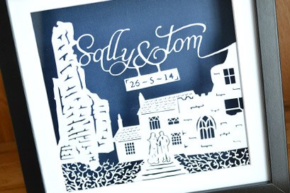 Wedding papercut scene venue