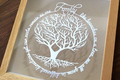 Family tree quote papercut