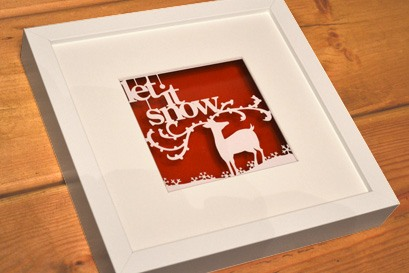 christmas bespoke paper cut framed artwork