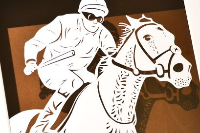 horse racing papercut portrait