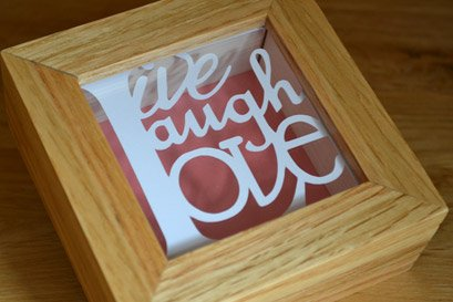 live laugh love themed minature papercut