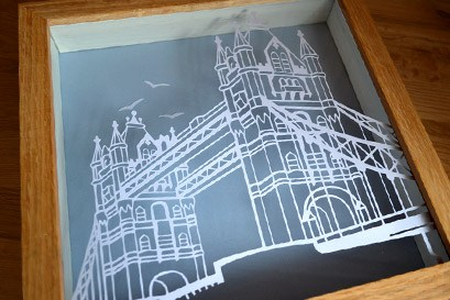 London Bridge crafted paper art
