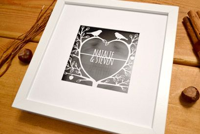 love tree personalised paper cut