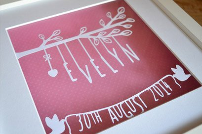 new born girl personalised papercut