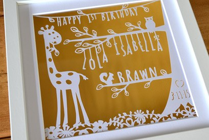 Personalised Nursery papercut