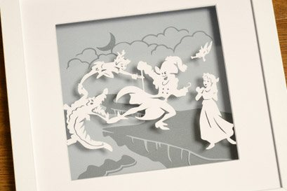 Peter Pan in Neverland paper cut