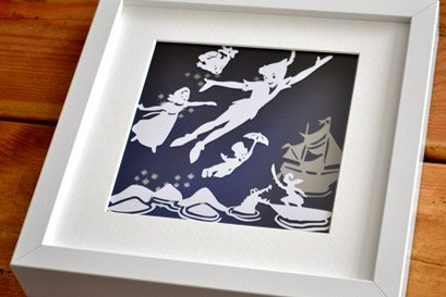 PeterPan and Wendy flying papercut