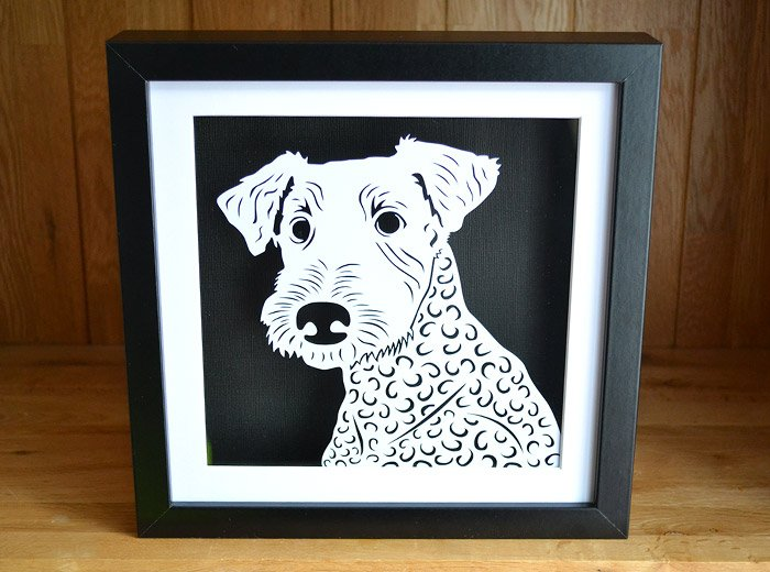 Airedale Terrier Papercut art