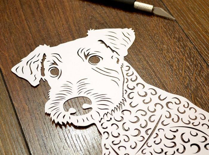 Airedale dog papercut