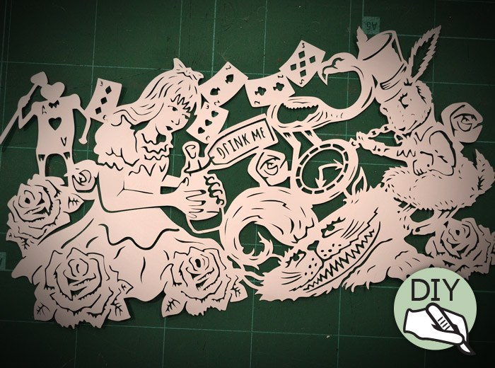 Alice Cheshire Cat & Rabbit paper cutting