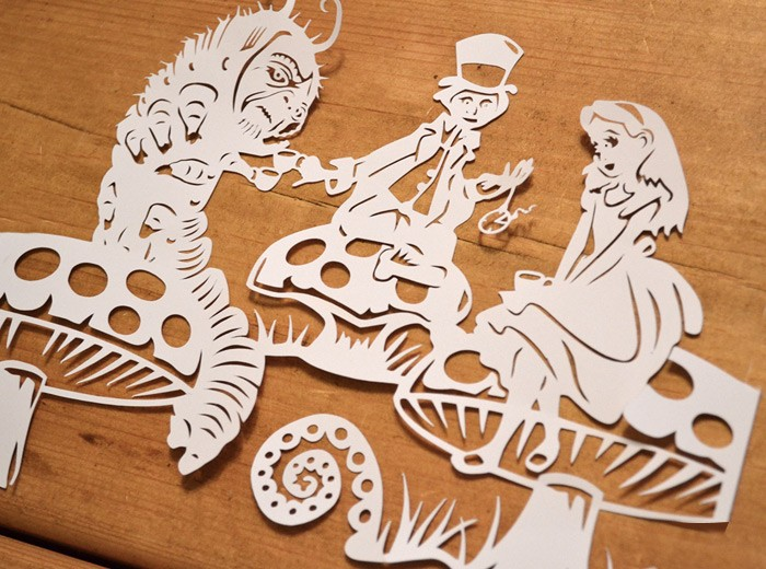 Alice in wonderland papercut paper petal Alice and wonderland art projects