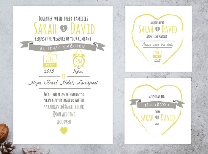 Modern Trendy Wedding invitation, stationery - Paper Petal
