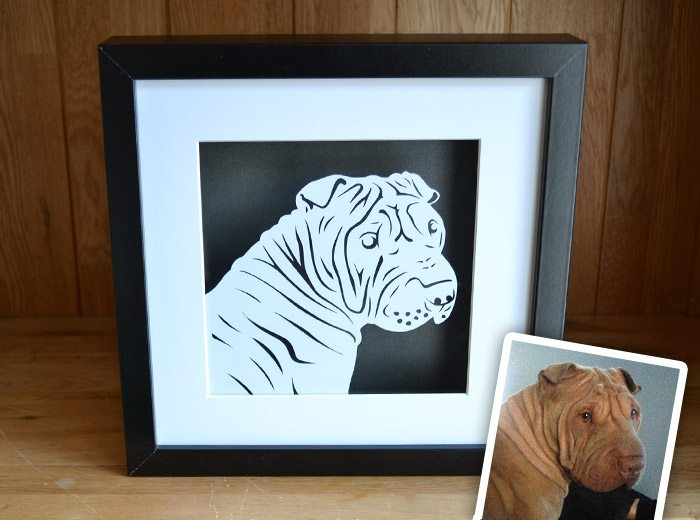 Shar Peis dog papercut portrait