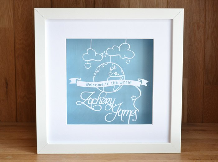 personalised baby boys name paper cut gift
