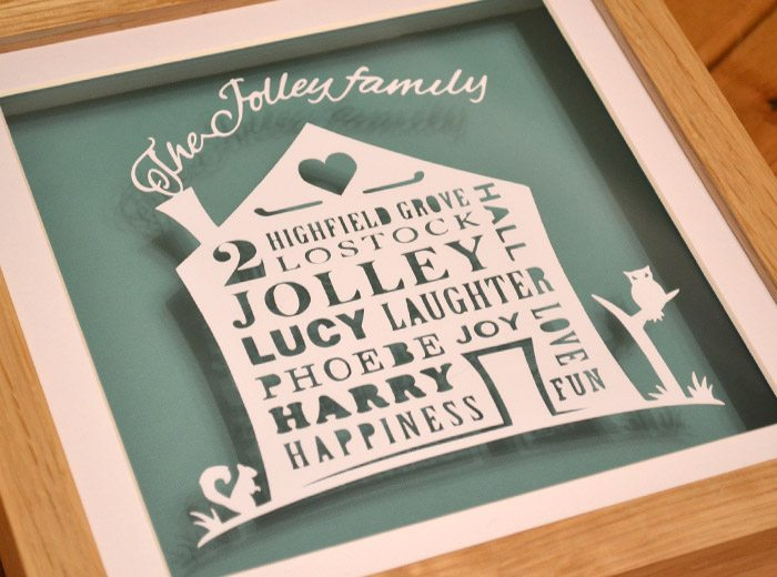 family tree house personalised papercut