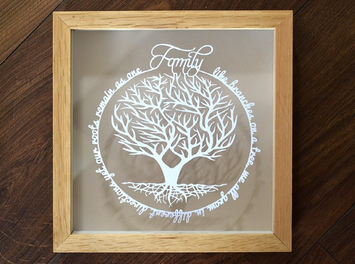 family tree papercut gift