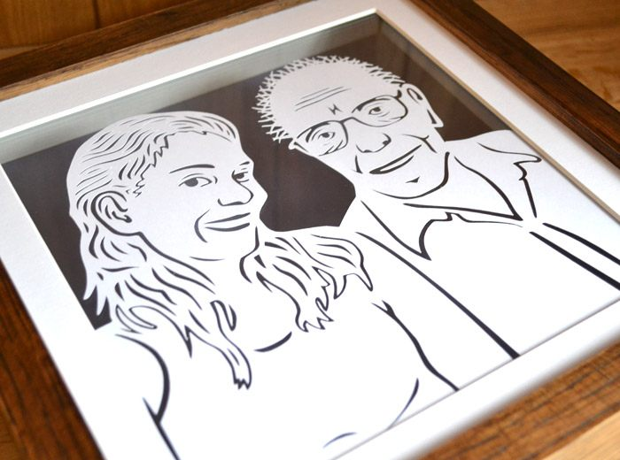 Fathers day papercut portrait