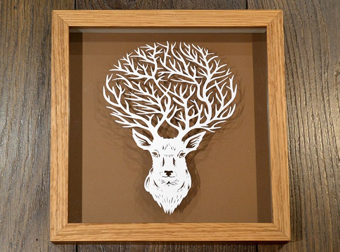 Stag horns papercut