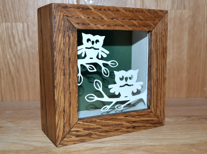 owl oak framed paper cut
