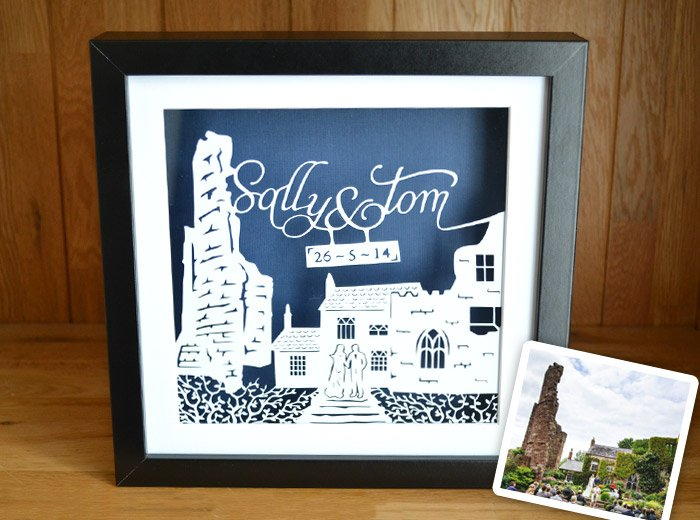 personalised Wedding location papercut gift