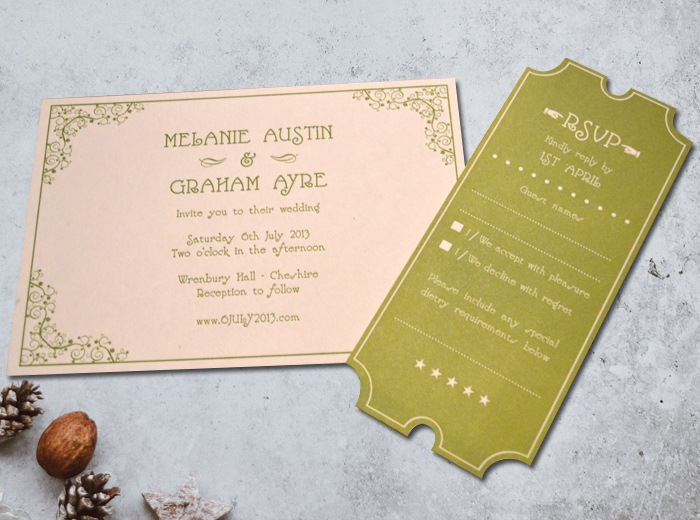 wedding invitation stationary silent film style