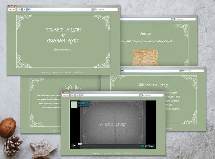 wedding website silent film style