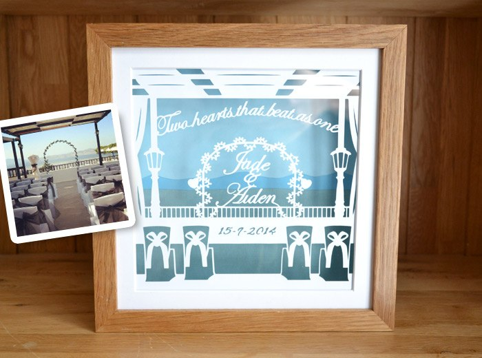 personalised wedding papercut gift